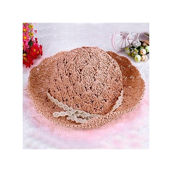 ... Girl Handcraft Bucket Hat Soft Lace Straw Hat Women Sun Hat Coffee ... 4e00c54a7f46