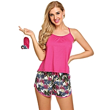 Women Solid Spaghetti Strap Tops With Printed Shorts Pajamas Sets With Eye Mask ( Red )