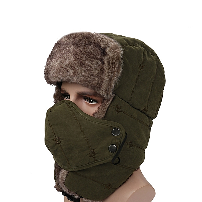 Winter Wool Ski Hat Face Mask Earmuffs Thermal Warm Outdoor Women Men Beanie  Mask Ski Windproof d7a5fa0b916