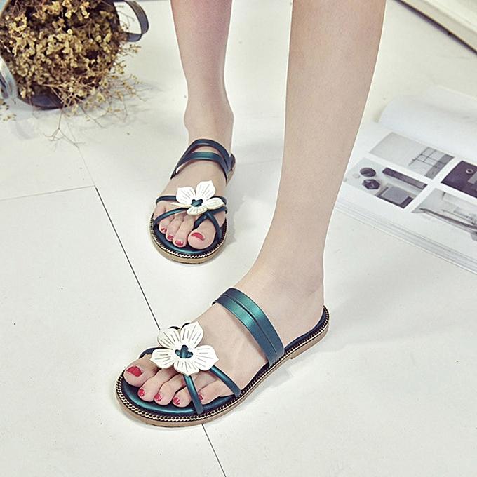 e3607460f26e7 ... Blicool Shop Women Sandals Women Bohemia Summer Flower Weave Sandals  Beach Peep-Toe Flip Flops