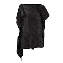 Black Plain Women's Top With A Side Frill Slip