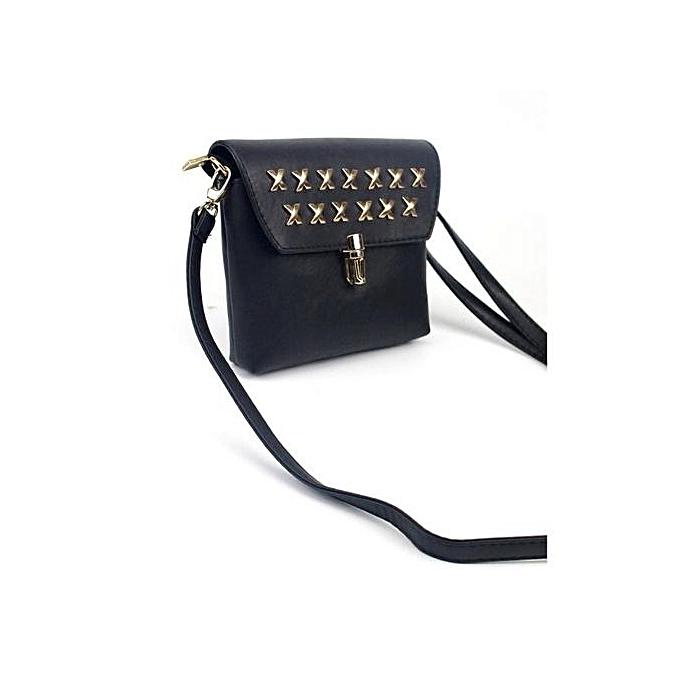 bluerdream-Women Fashion Rivet Handbag Shoulder Bag Large Tote Ladies Purse-  Black 98761b1e52