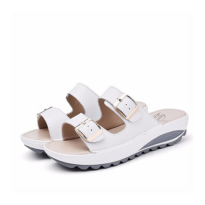 be9dcb93bf4c Fashion Women Big Size Soft Leather Buckle Peep Toe Slippers Slip On Beach Platform  Sandals-