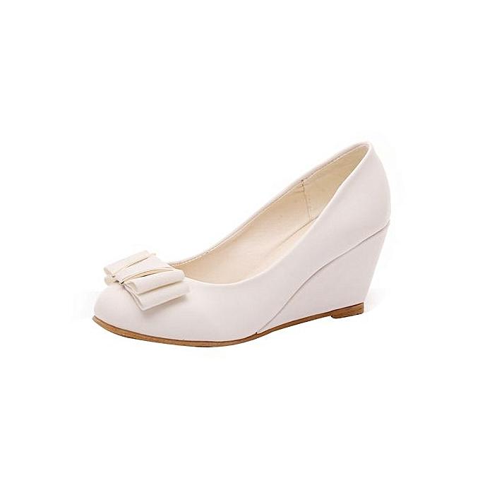 fa7c7997c Spring Summer Wedge Heel Shoes Platform Bow Tie Round Toe Ladies Shoes  BG/35-
