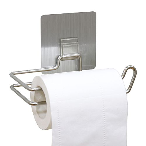 Reusable Stainless Steel Toilet Paper Holder Wall Mounted Bathroom Towel  Dispenser   Silver
