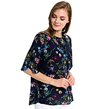 Navy Blue Floral Fashionable Blouse