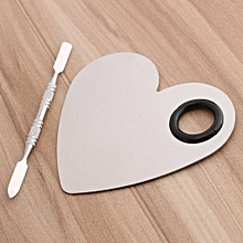 Heart Stainless Steel Palette Spatula Makeup Nail Art Foundation Mixing Tool Set