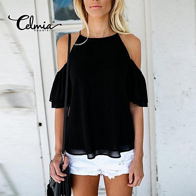 aa84279f75466 Celmia Womens Ladies Casual Off Shoulder Short Sleeve Plain Chiffon Loose  Shirt Tops Blouse Black ...