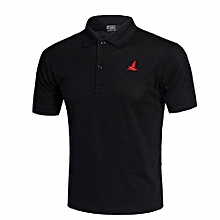 High Quality Fashion Men's Casual Polyester Summer Short Sleeves Polo Shirts-Black