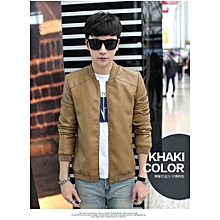 Cool Popular Classic Men's Europe and the United States Wind PU Leather Men's Jacket-khaki
