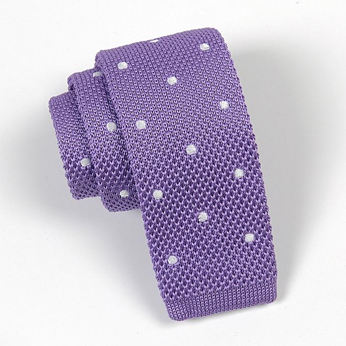 Narrow Tie Men Suit Business Vintage Woolen Yarn Knitted 6CM Dot Flat Head  Tie Purple A2004 f5c9c663626