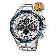 White Dial Tachymeter Watch With Silver Straps