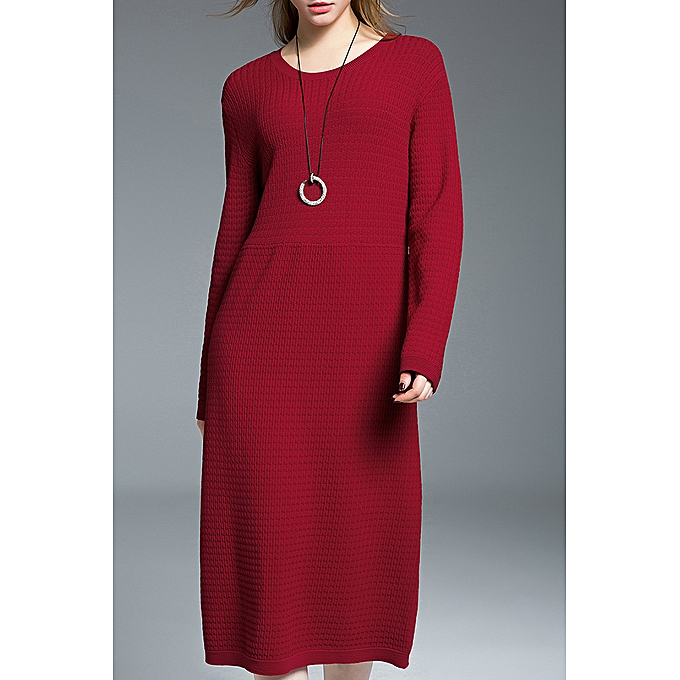 709ec8a1ee ZAFUL Ribbed Long Sweater Dress,Red @ Best Price Online | Jumia Kenya