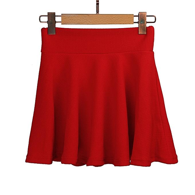 deb578b53 ... Women Lady High Waist Plain Skater Flared Pleated Short Mini Skirt  Shorts Skirts-Red ...