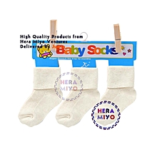 3 Pairs Soft Cotton Baby / Newborn Kids Cute Socks - White
