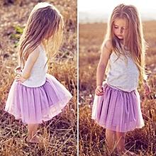 Girls Vest Tutu Skirt Suit  - Grey + Purple