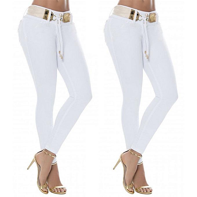 ea9e76b24d27 Fashion Women Middle Waisted Skinny Jeans Stretch Slim Pants Calf Le ...