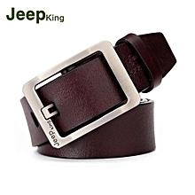 Men Belt Leather Needle Buckle Wholesale Cowhide Vintage Trousers Belt Coffee 110CM