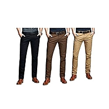 Brown , Beige And Black 3 Pack Slim Fit Khakis - Slightly Stretch