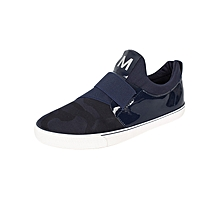 Navy Slip On Casual Shoes With Elastic Band