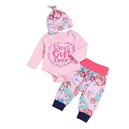 db3729b40 Eissely Newborn Infant Girls Boy Floral Letter Print Tops+ Pants Cap ...