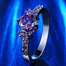 Top Quality Fashion Purple Silver Jewelry Diamond Rings Engagement Wedding Female Rings Size 8