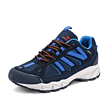 Spring Autumn Men Outdoor Shoes Leahter Breathable Hiking Mountain Trekking Shoes Anti-skid Men Climbing Shoes - Blue