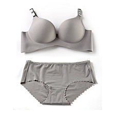 Sexy Grey Seamless Spandex Panty and Bra Set with cotton lining