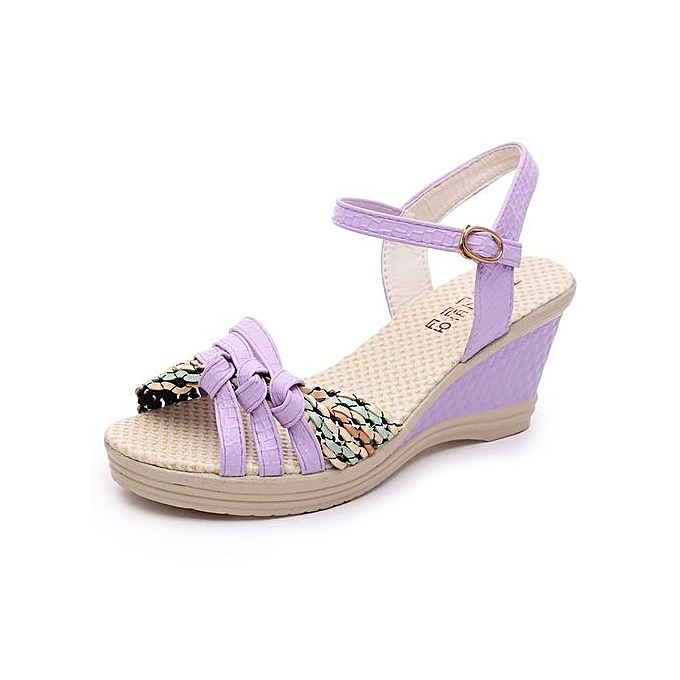 cb0b220fb Jiahsyc Store Ladies Women Wedges Shoes Summer Sandals Platform Toe High-Heeled  Shoes-Purple