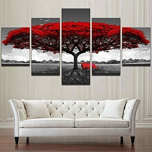 UNIVERSAL 5PCS Framed Home Decor Canvas Print Painting Wall Art Modern Red Tree Scenery Bench