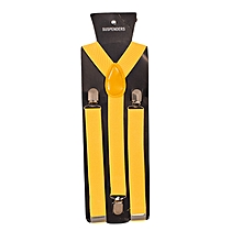 Yellow Gold Men's Adjustable Suspenders With Silver Clip