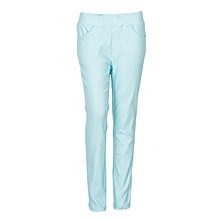 Girls Turquoise Fitting Cotton Stretch Pants