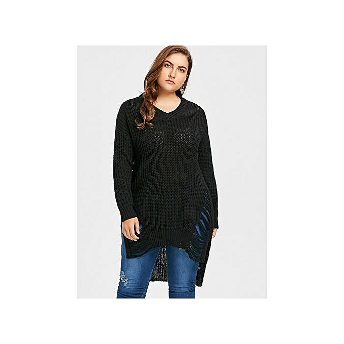 Buy Fashion Plus Size Distressed High Low Longline Sweater At Best