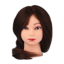 100% Brown Real Hair Salon Doll Heads Hairdressing 22'' Mannequin Mannequin