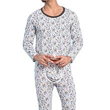 singedanMen's Printing Thermal Base Underwear Sets Long Johns Top & Bottom Suits BU/L -Blue