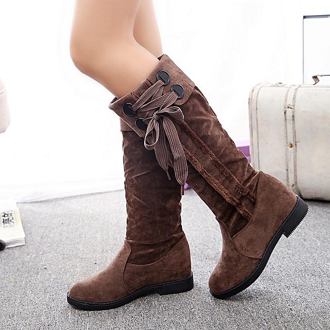 3196515c1856 Snow Boots Winter Ankle Boots Women Flat Heel Martin Boots Fashion Women s  Boots-Khaki 35