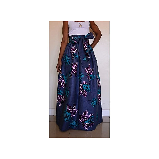 3e503e4048 Women Non-transparent Satin Long Skirt Vintage Retro Floral Print High  Waist Pleated Flanavy Blue
