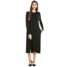 Women Stand Collar Long Sleeve Solid Front Slit Midi Dress ( Black )