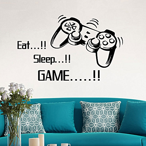 neworldline eat sleep game wall stickers boys bedroom letter diy