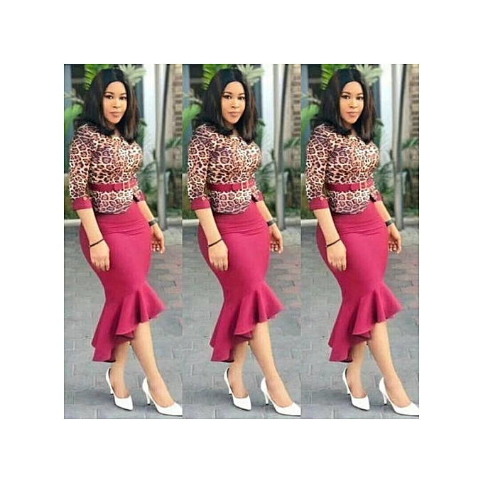 58995277f4 Fashion Women's Leopard Print skirt and top with belt @ Best Price ...