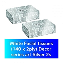White Facial tissues (140 x 2ply) Decor series art Silver 2s