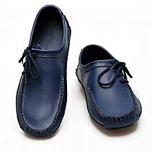 Blue Trendy men full grain leather loafer
