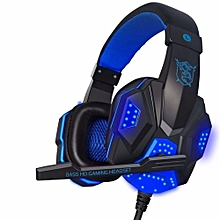 Gaming Headset with Mic and LED Light for Laptop Computer, Cellphone, PS4  and others  3.5mm Wired Noise Isolation Gaming Headphones - Volume Control. Black and blue