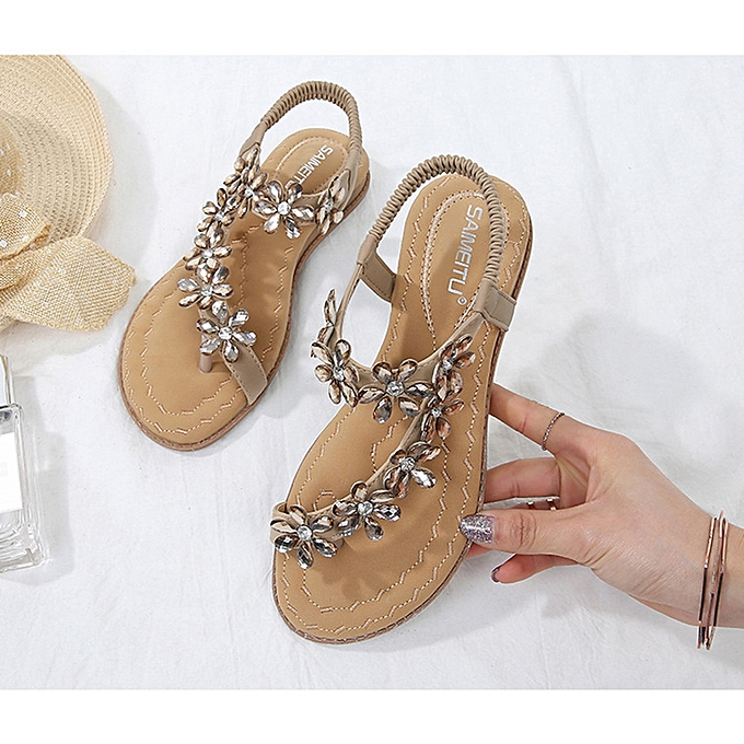 39c3c587fc24 Fashion SOCOFY Women Summer Clip Toe Beach Sandals Bohemian Flat Slippers  Casual Shoes