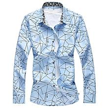 Print Cotton Short Shirts For Men (Sky Blue)