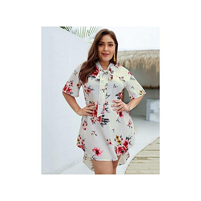 Plus Size High Low Dresses With Floral Print - White