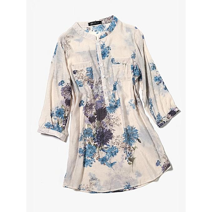 e669277d781 Fashion Women Cotton Linen Floral Loose 3 4 Sleeve Button Shirts with Pocket