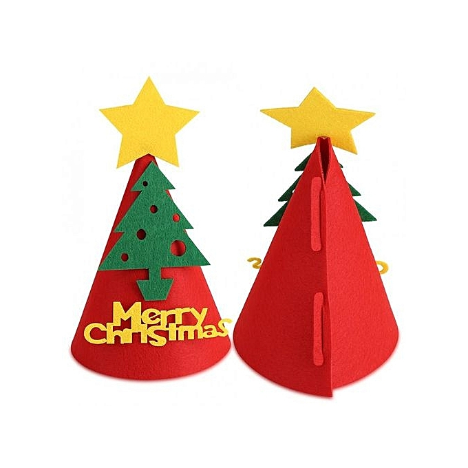 10a01685e6cfb ... Unisex Non-woven Christmas Hat Adult Children Cap Festival Party Decor (Red  Christmas Tree ...