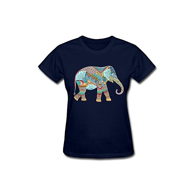 616f0a09a2a6 Womens Cute Elephant Colorful Design Ladies T-shirt Fashion O-Neck Short  Sleeved T