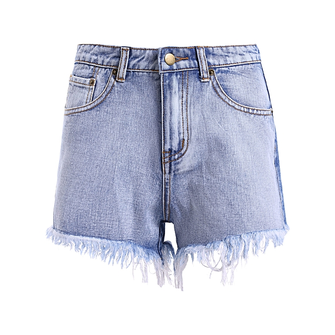 be1e58b493 Fashion Zipper High Waisted Distressed Denim Shorts @ Best Price ...